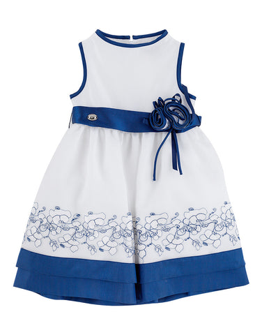 Girls cotton white dress with blue trim - Artigli