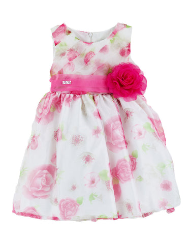 Girls white cotton dress  with roses - Artigli