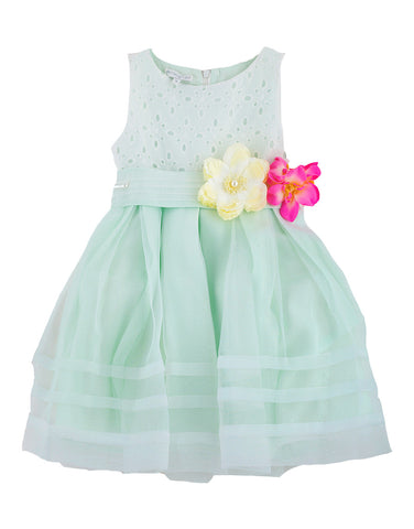 Girls pale green dress with flowers - Artigli
