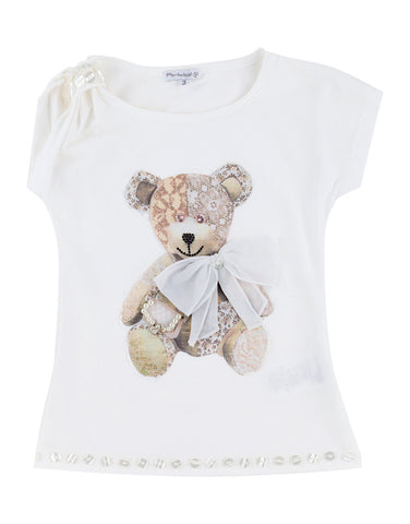 Girls white cotton top with Teddy Bear print - Artigli
