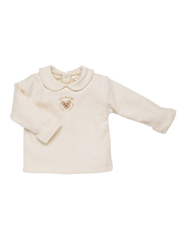 Ecru baby 100% organic top with teddy bear