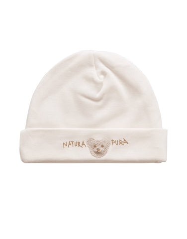Ecru baby 100% organic cotton hat with embroidered teddy bear