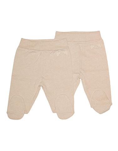 Beige organic cotton babytrousers set of 2