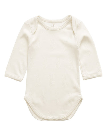 Ecru 100% organic cotton bodysuit with bunny detail