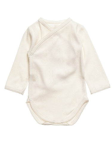 Ecru 100% organic cotton bodysuit with bunny logo