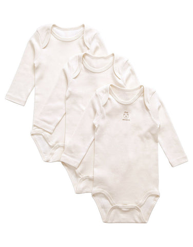 Ecru 100% organic cotton bodysuits set of 3
