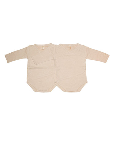 Beige 100% organic cotton bodysuit set of 2