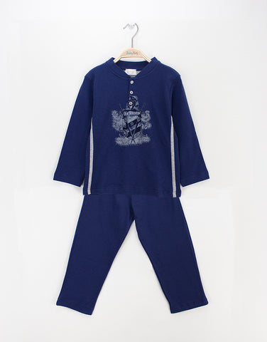 Boys blue pyjamas with large print