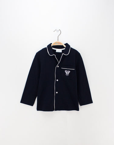Boys navy pyjamas with logo on pocket