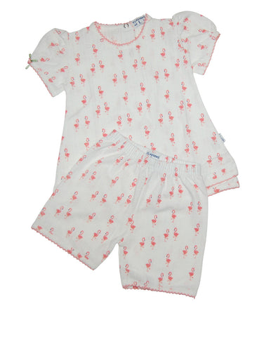 Girls white cotton pajamas with pink flamingos - Claesens