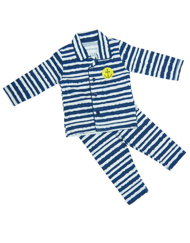 Boys cotton navy stripes pajamas - Claesens