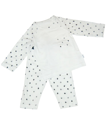 Kids white cotton pijamas with sculls - Piccola Ludo