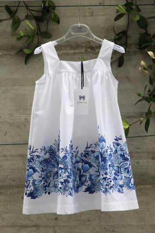 White cotton dress with blue flowers - Piccola Ludo