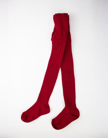 Kids dark red cotton tights