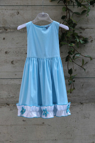 Girls blue dress with white hem - Piccola Ludo