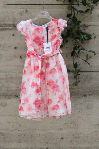 White cotton dress with red flowers - Piccola Ludo