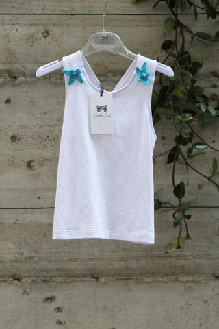 Girls white cotton dress with blue flowers - Piccola Ludo