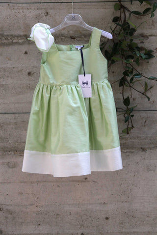 Girls green dress with bow and white trim - Piccola Ludo