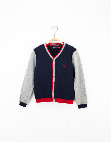 Boys Navy Cardigan With Buttons