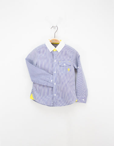 Boys Cotton Striped Shirt With White Collar