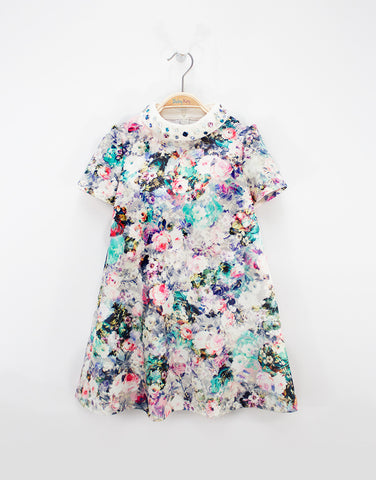 Flowered Dress With Crystals