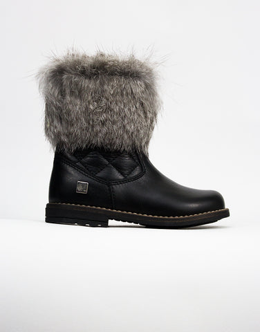 Black Leather And Fur Girls Boots