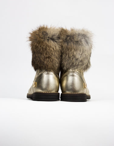 Gold Leather And Fur Girls Boots