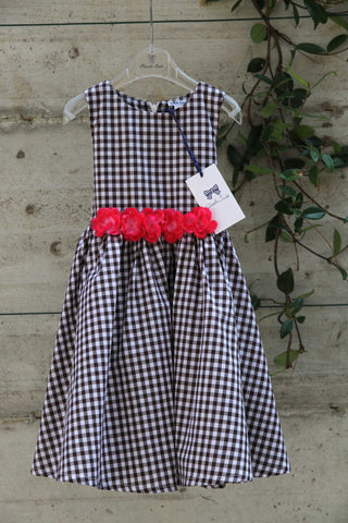 Girls 50's check dress with red flowers - Piccola Ludo
