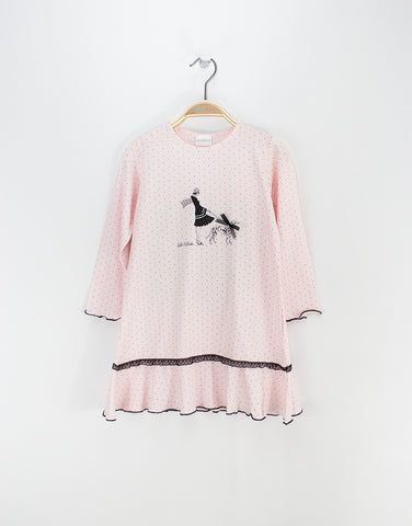 Girls Pink Modal Nightie With Print