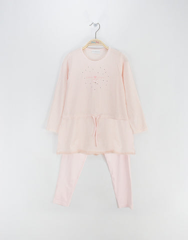 Girls pink modal check pyjama set