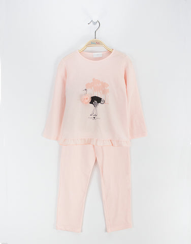 Girls cotton pink pyjamas with strauss print