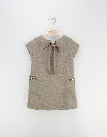 Girls Grey Dress With Pockets