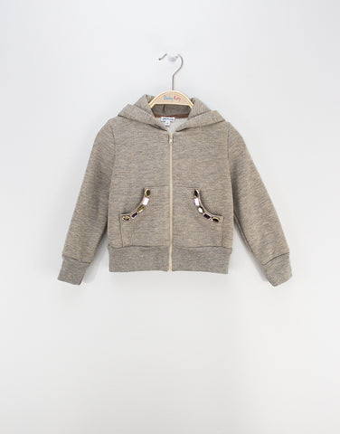 Girls Grey Hoodie With Crystals