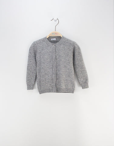 Girls Grey Merino Cardigan