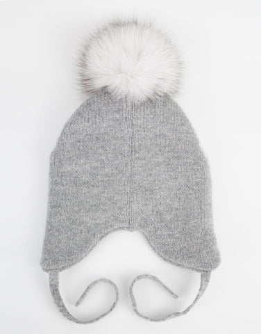 Baby Girls 100% Cashmere Grey Hat With Pom-pom