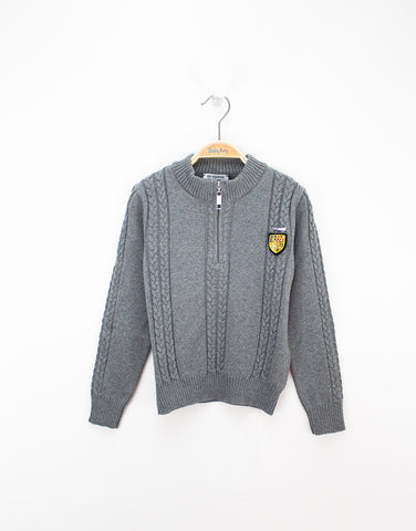 Boys Grey Wool Knitted Cardigan