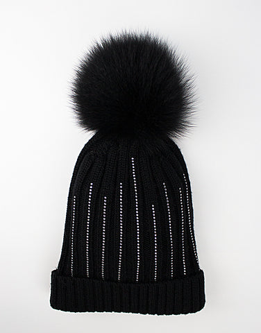 Kids 100% lana wool black hat with pom-pom