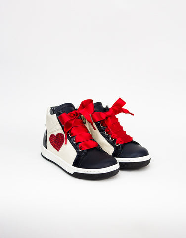 White And Navy Leather Girls High-top Sneaker