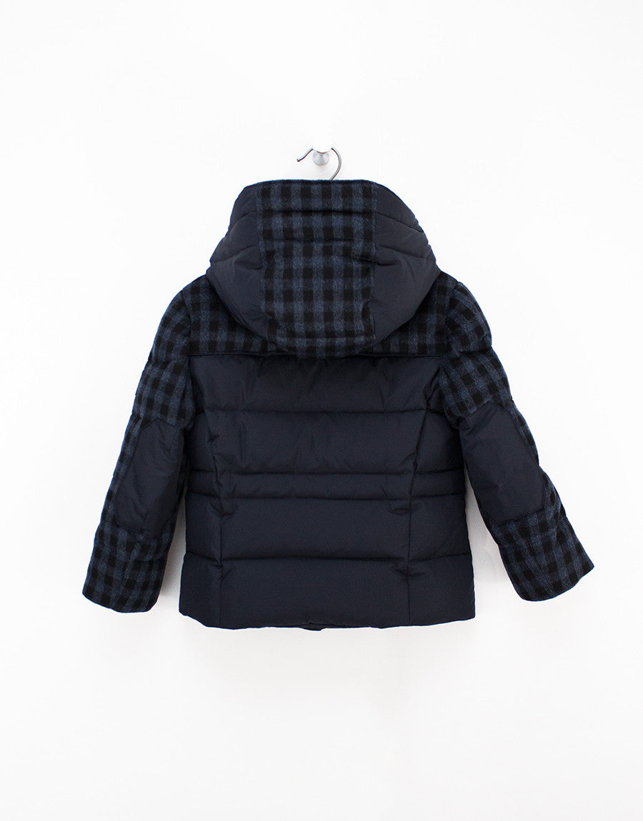 de39c7961406 Navy-check Winter Down Jacket For Boys With Removable Hood