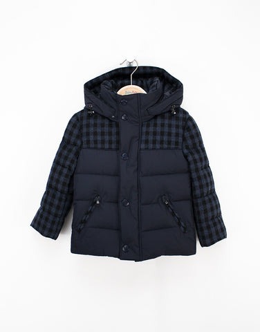 Navy-check Winter Down Jacket For Boys With Removable Hood