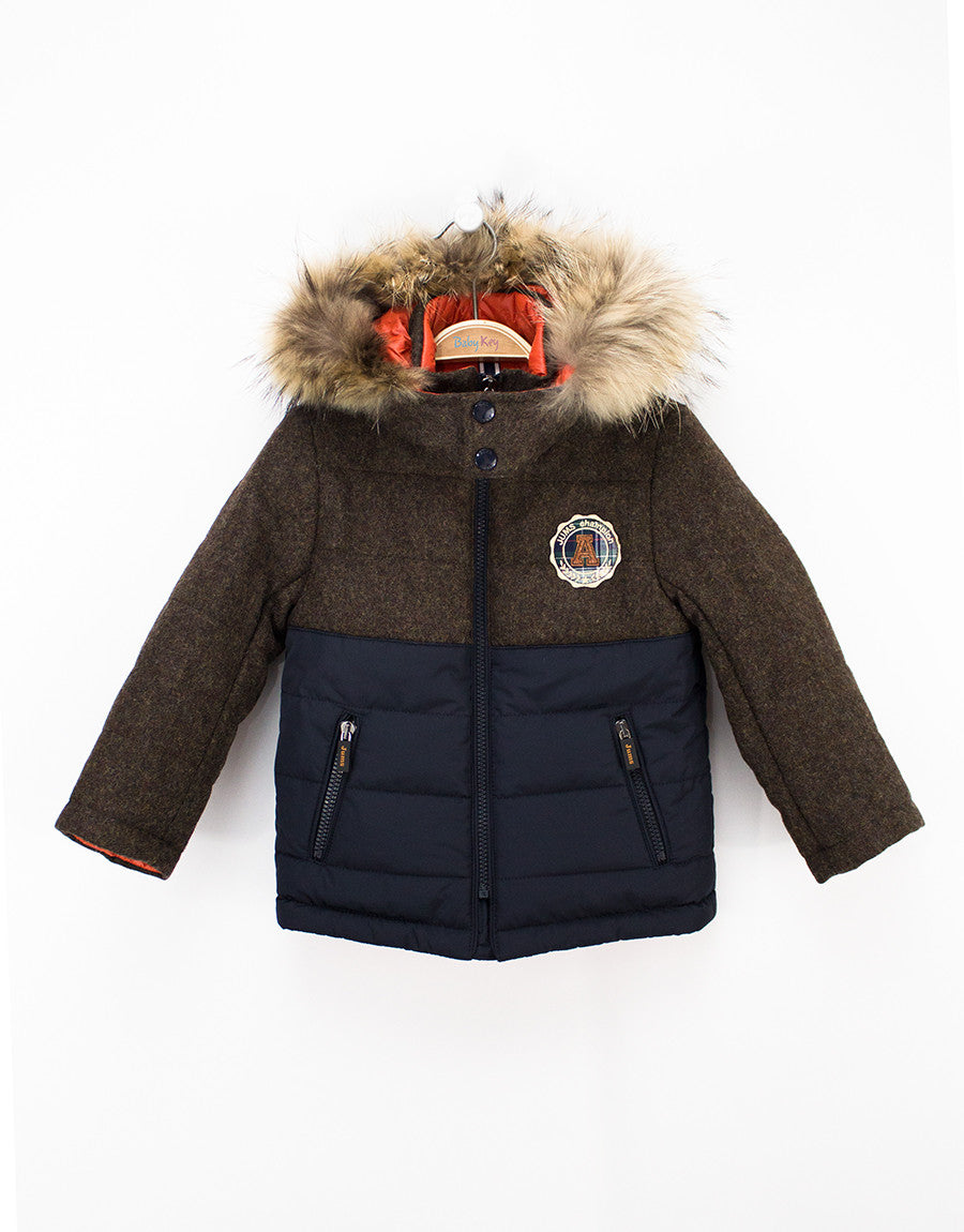 569e825bcd1c Brown-navy Wool Winter Boys Jacket With Removable Fur Hood
