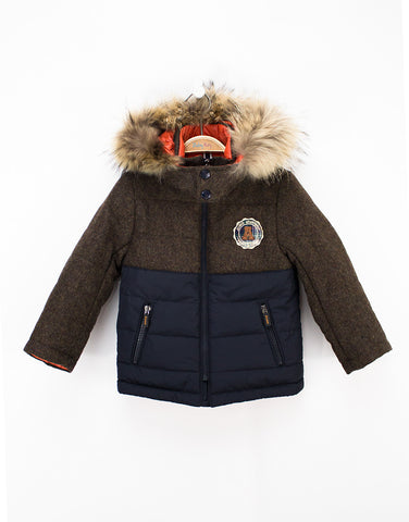 Brown-navy Wool Winter Boys Jacket With Removable Fur Hood