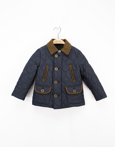 Blue Quilted Warm Winter Boys Jacket With Pockets And Brown Buttons
