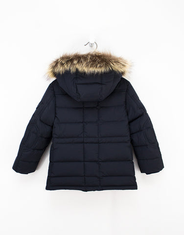 Navy Winter Down Unisex Jacket With Removable Fur Hood