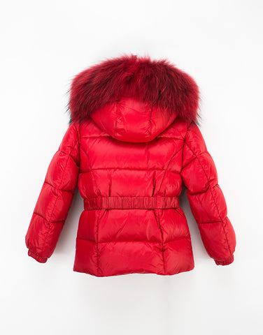 Red Winter Down Jacket For Girls With Belt And Fur Hood
