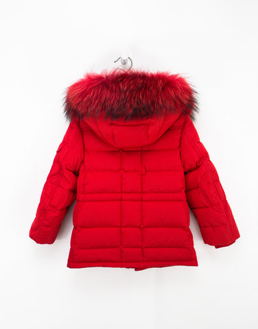 Kids Red Winter Jacket With Fur Hood And Down Filling For Girls