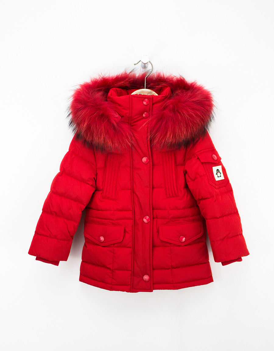 Kids Red Winter Jacket With Fur Hood And Down Filling