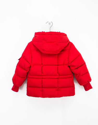 Red Winter Down Jacket For Girls With Removable Hood