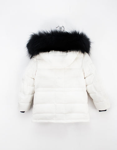 Kids White Winter Jacket With Fur Hood And Down Filling For Girls