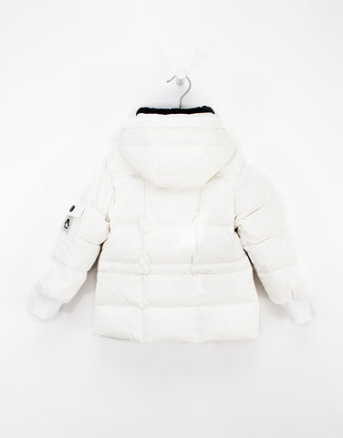 Kids White Winter Jacket With Hood And Down Filling For Girls